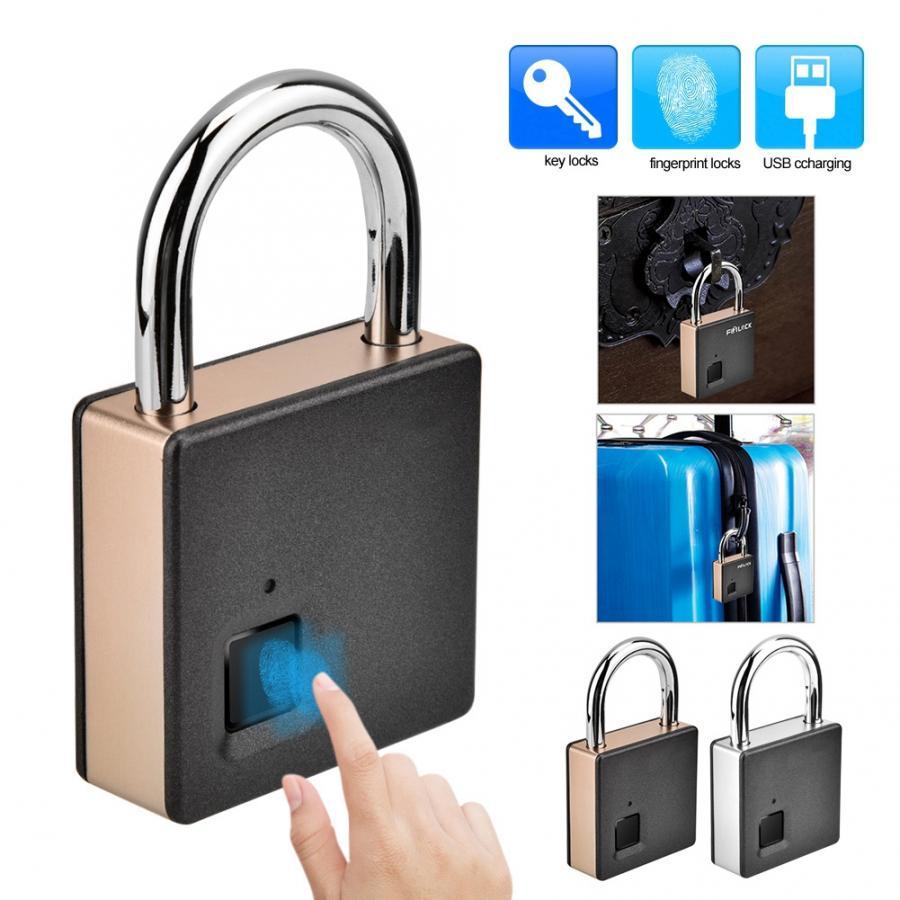 Image 2 - Smart Door Lock Metal Fingerprint Door Lock Padlock Stainless Steel Biometric Portable Outdoor Padlock Dustproof Waterproof LockElectric Lock   -