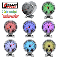 Dragon gauge 3.75 Inch High speed stepper motor 7 Color Backlight Auto Tachometer gauge with warning function 0 8000 RPM Meter
