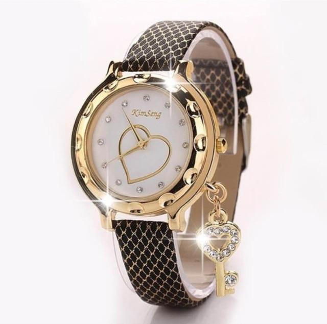 2018 Key Heart Bracelet Watches Women Leather Crystal Quartz Wrist Watch Gold Cl