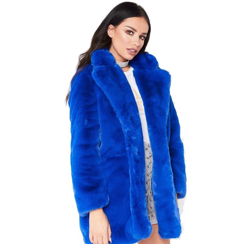 Veste À Casual Vintage red D'hiver Casaco fuchsia black Manteau blue La Fourrure yellow 2018 Solide Et Manches Taille Femelle Plus Femmes 7 Feminino Mode Fausse Longues Beige vpqaPqt