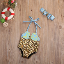 Детский купальник, Цельный Детский купальник, купальный костюм русалки для девочек, милый бикини mayo, головной убор с бантом, комплект детской одежды для плавания