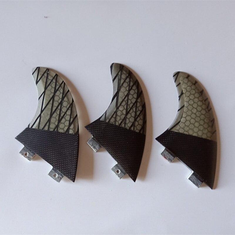 Planche de surf demi transparence de carbone noir de carbone en nid d'abeille ligne FCS FIN