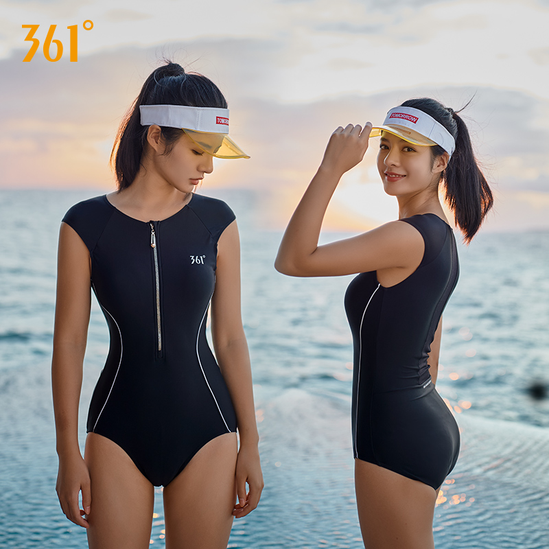730afadd5e69 361 traje de baño mujer una pieza cremallera traje de baño triángulo  deportes Bikini señoras negro rojo Sexy Monokini 2018 Grils playa trajes de  ...