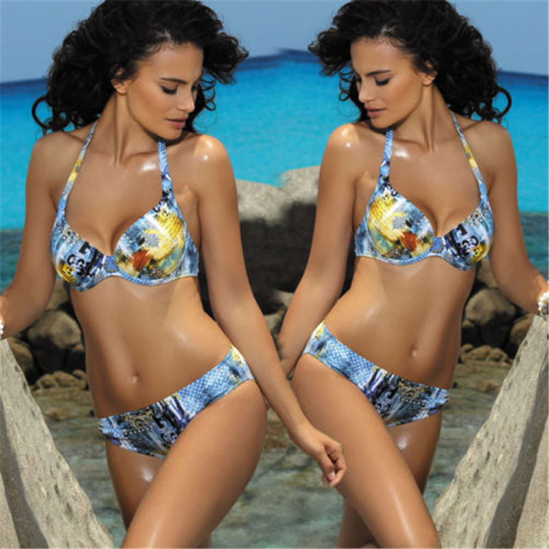 <font><b>2018</b></font> Hot <font><b>Sexy</b></font> <font><b>Brazilian</b></font> <font><b>Bikinis</b></font> <font><b>Women</b></font> <font><b>Swimwear</b></font> Beach Bathing Suit Push Up <font><b>Bikini</b></font> Print Set <font><b>Halter</b></font> Top Bandage Swimsuits Biquini image