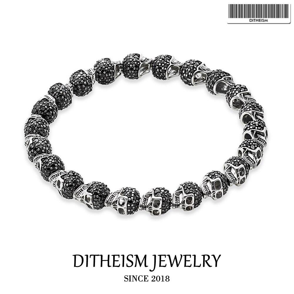 Bracelets avec perles de crâne, 2018 nouveaux bijoux de mode en argent noirci, cadeau Punk pour hommes garçons femmes filles