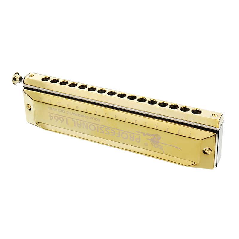 Лебедь высококлассная Хроматическая гармоника 16 отверстий 64 тонов золотой лазер продолжение деревянный духовой музыкальный инструмент Губная гармошка с изображением лебедя SW1664-3