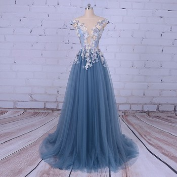 Eightale Evening Dress For Woman Scoop A-line Decorated With Flower Tull Blue Party Prom Dress For Graduation Vestido De Festa