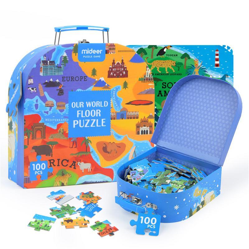 100 sztuk dzieci poznawcze Puzzle edukacyjne zabawki geografia mapa świata podłogi Puzzle gry dla dzieci prezent z pudełkiem