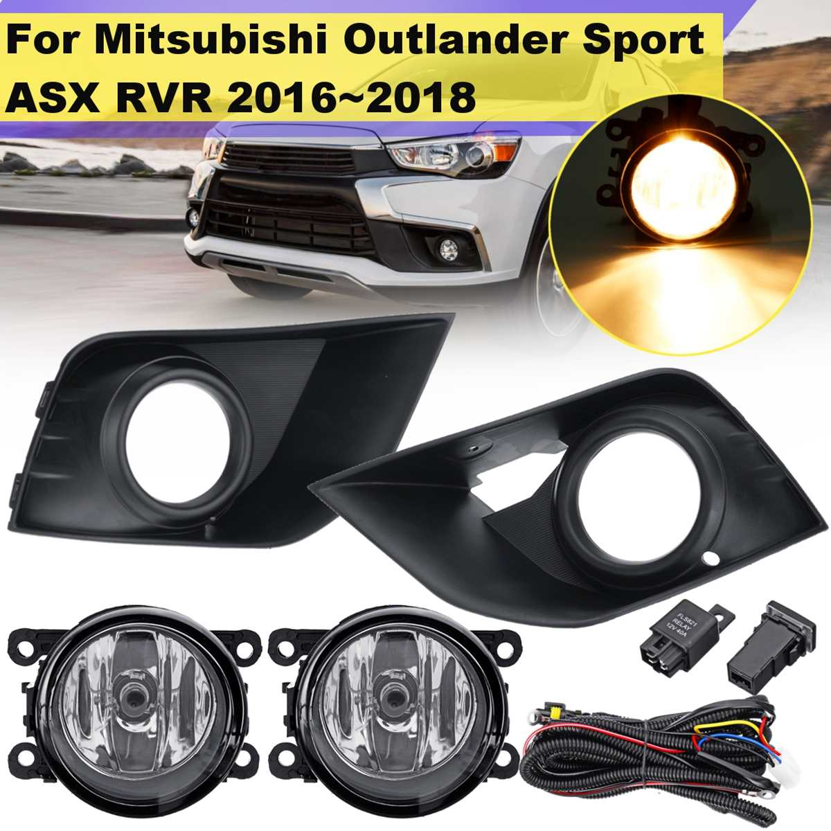 1 Pair Car Bumper Fog Light Lamp With Cover Frame Grill For Mitsubishi Outlander Sport Asx Rvr 2016 2017 2018 Styling Drl Regular Tea Drinking Improves Your Health