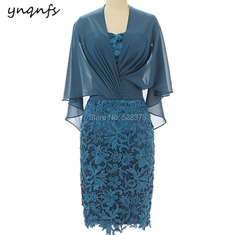 YNQNFS M42 Elegant Lace Outfits Cape Half Sleeve Party Gown Cocktail Vestido Formal Teal Short Mother of the Bride Dresses 2019