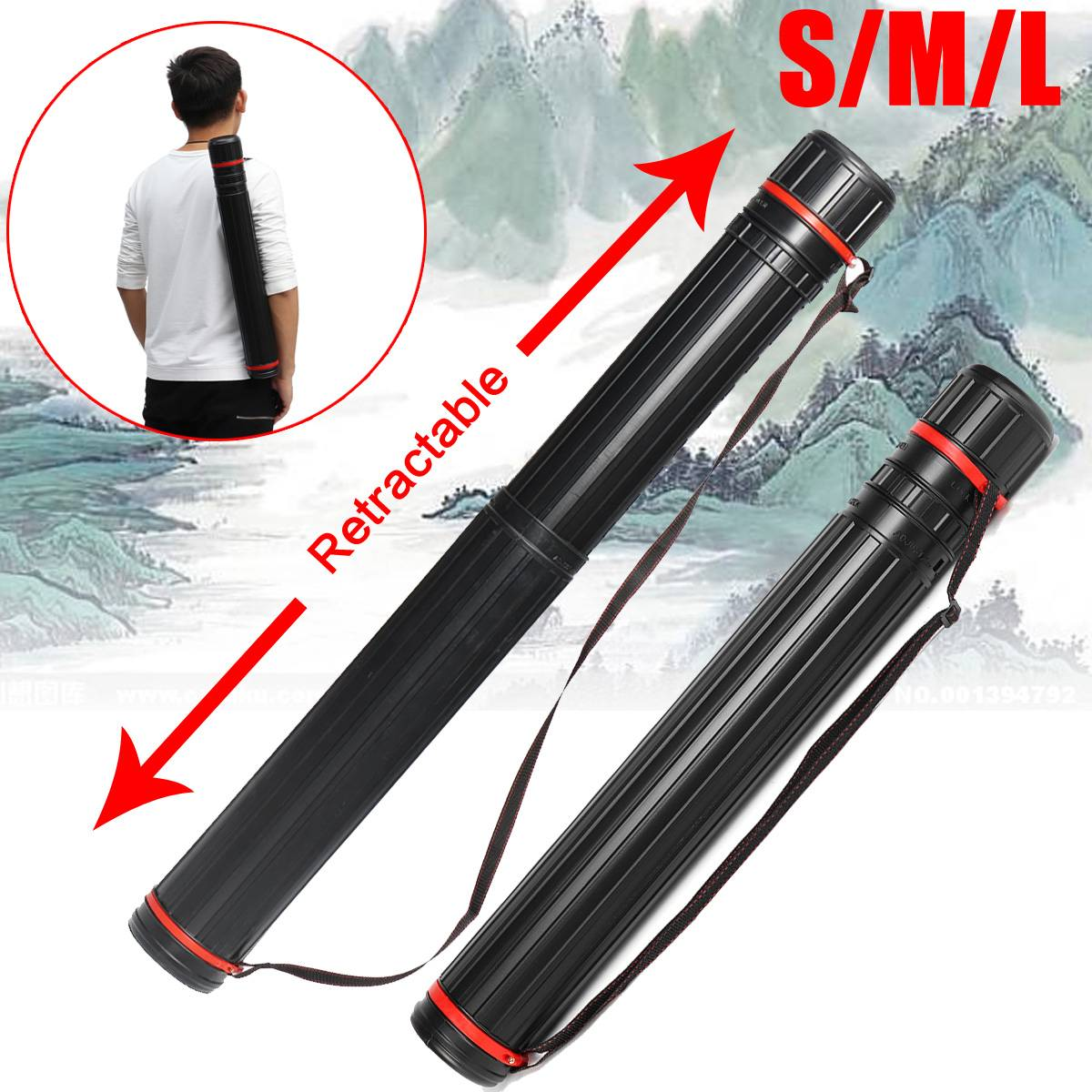 Adjustable Drawing Picture Storage Tube Poster Scroll Holder Bow Arrow Quiver Tube 63-135 cm Painting Art SuppliesAdjustable Drawing Picture Storage Tube Poster Scroll Holder Bow Arrow Quiver Tube 63-135 cm Painting Art Supplies