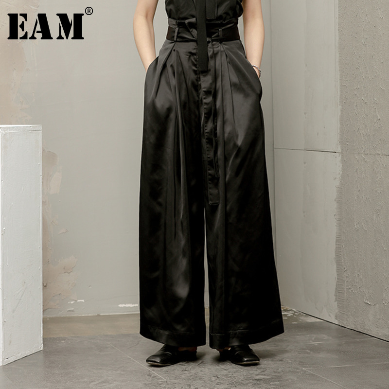 [EAM] 2019 spring  Loose High Wasit Casual Drawstring Pleated Smooth Full Length Wide Leg Pants Women Fashion Tide OB367