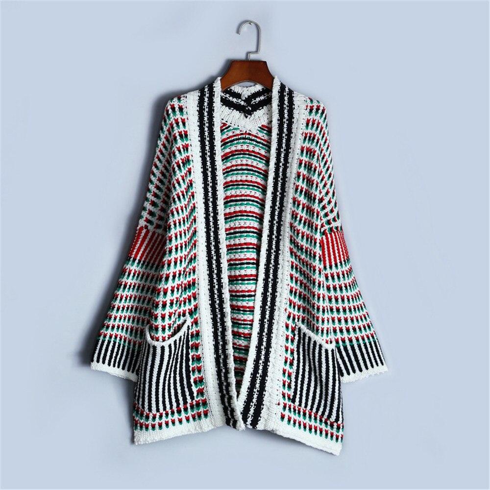 2019 Multicolore Femmes Tricot En Rayé Manteau Multi Femelle Hauts Qualité Cardigans Supérieure Piste Nouveaux Hiver Vintage Lâche color Poche Oversize 4aqqExfw