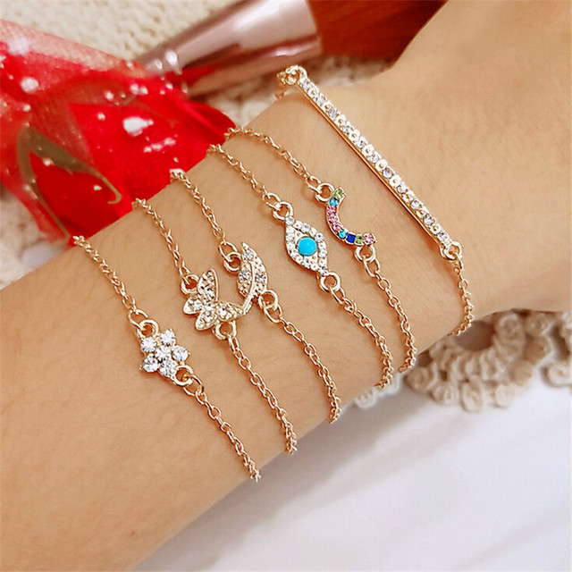1set Fashion Bohemia Coconut Tree Butterfly Heart Knot Hand Cuff Link Chain Bracelet For Femme Jewelry  2018