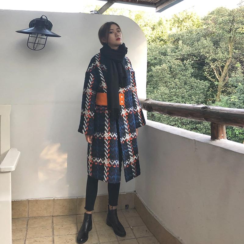 Femme Longue De Pardessus Vestes Automne Femmes Lâche Blue Laine Costume Nouvelle D'hiver Veste À Carreaux Unique Manteau En Omvn0N8w