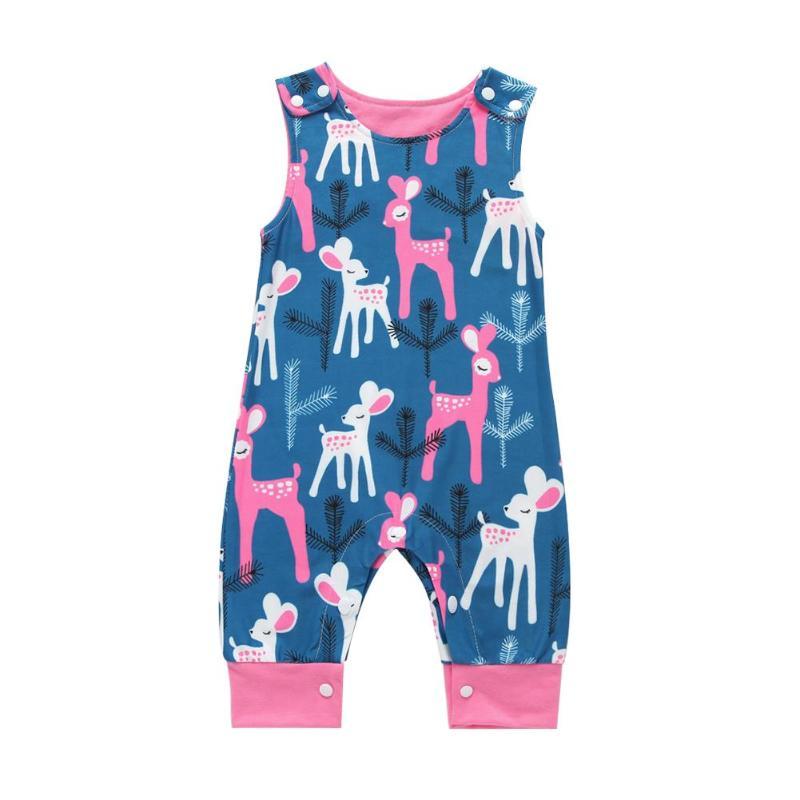 Baby Romper Baby Clothes Set Cute Cartoon Animal Print Children Clothing Round Neck Jumpsuit Kids Sleeveless Button Romper