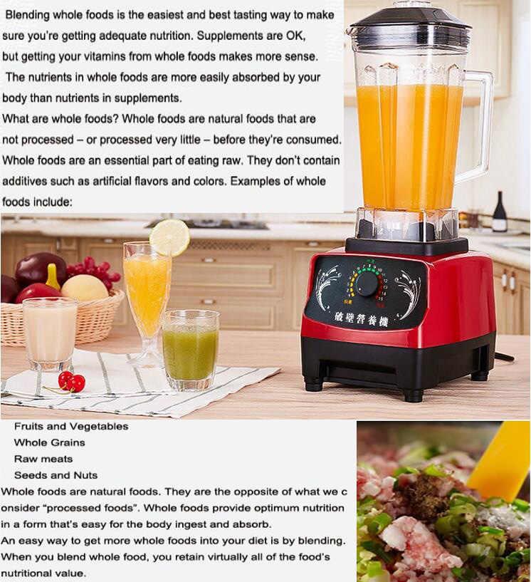 1600 w 2l livre grau comercial casa profissional smoothies energia liquidificador liquidificador liquidificador processador de alimentos espremedor frutas