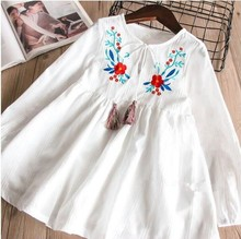 spring girl dress white long sleeve embroidery flower baby frock school tassel boutiques children clothes princess