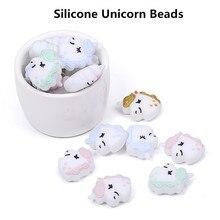 Chengkai 50 pcs Silicone licorne anneau de dentition perles bricolage Animal bébé dentition Montessori sensoriel dessin animé bijoux jouet faisant des perles