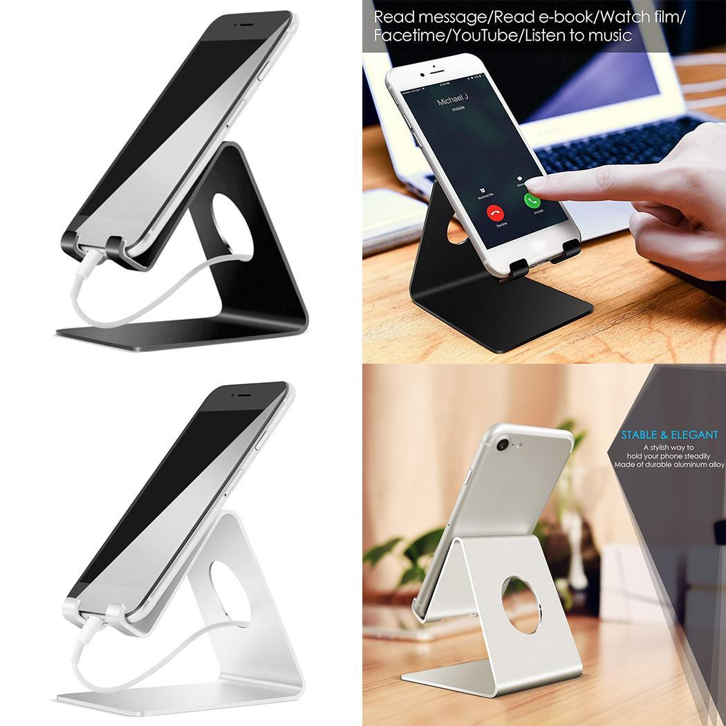 Durable Metal Phone Holder Fashion Cell Phone Stand Stable Phone Dock with Rubber Cushion