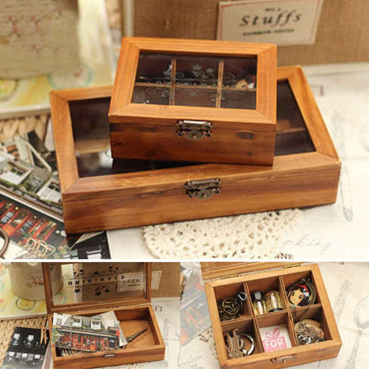 Retro Vintage Wood Wooden Clear Acrylic Cover Jewelry Storage Box Holder Organiser Craft Case Gift Box Authentic Size S/L