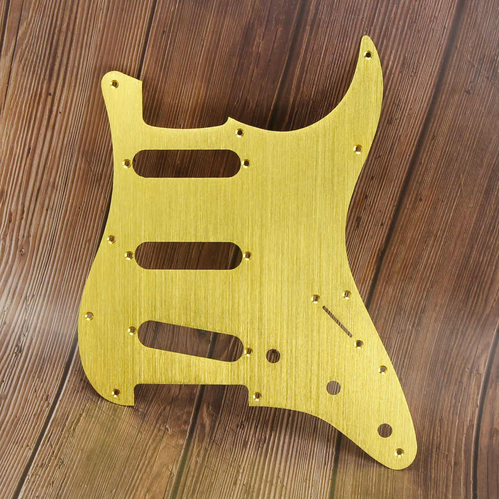 FLEOR Gold Metal Pickguard 11 Hole Strat Electric Guitar Pickguard Scratch Plate SSS with Screws for Guitar Parts