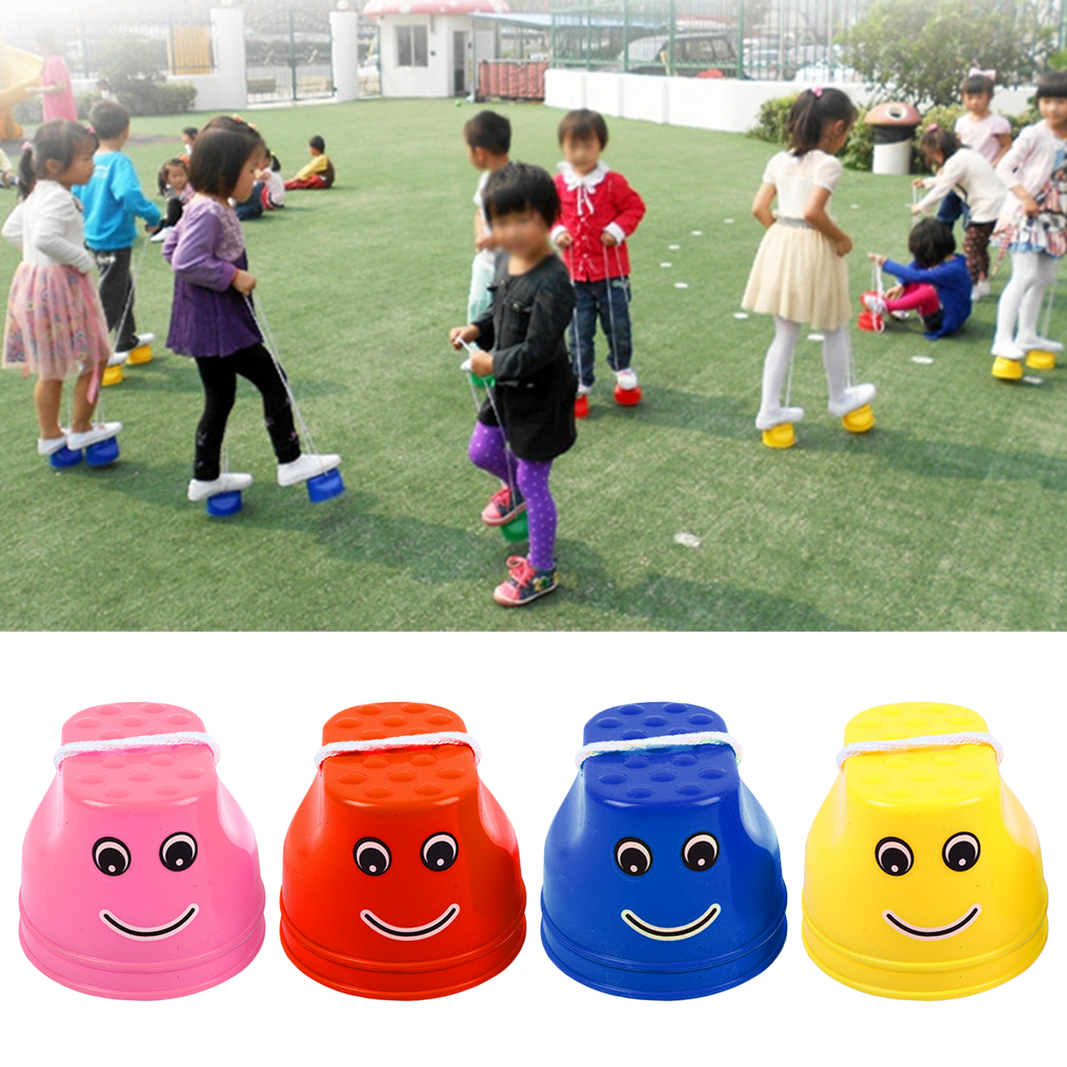 1 Pair Plastic Smile Face Walking Jumping Feet Stilts Balancing Shoes For Kids Children Outdoor Walker Sport Games Toy