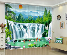 Printing Of Chinese Landscapes Window Curtain 3D Curtains For Living Room(China)