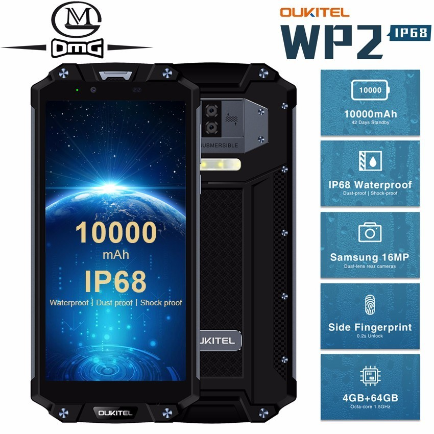 OUKITEL WP2 10000mAh IP68 Waterproof shockproof Mobile Phone Android 8.0 4GB+64GB Octa Core 4G Smartphone 16MP NFC Cell Phones-in Cellphones from Cellphones & Telecommunications    1