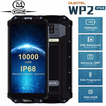 OUKITEL WP2 10000mAh IP68 Waterproof shockproof Mobile Phone Android 8.0 4GB+64GB Octa Core 4G Smartphone 16MP NFC Cell Phones blackview bv9100 6 3 13000mah nfc ip68 rugged shockproof smartphone android 9 0 4gb 64gb octa core fast charge 4g mobile phone