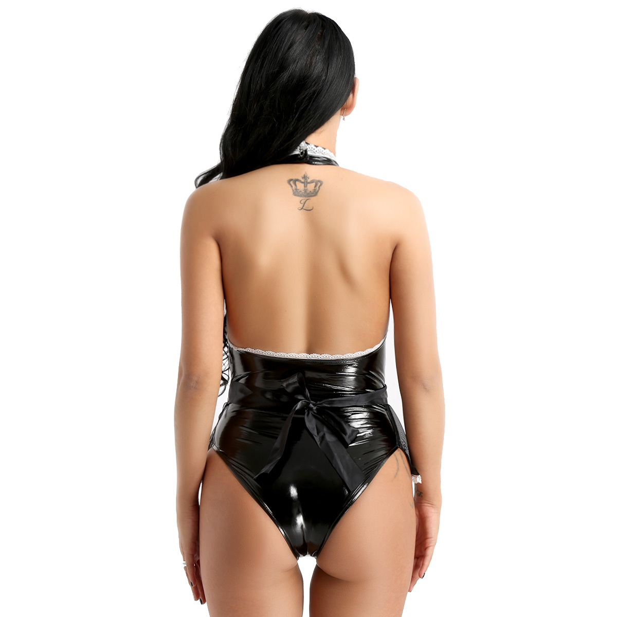iiniim Womens Wet Look Patent Leather Maid Cosplay Costume Halter Jumpsuit with Apron Maidservant Outfit Sexy Nightclub Costumes