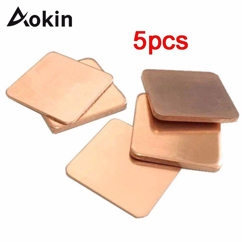 5pcs Thermal Pad Barrier Pure Copper Heatsink Shim For Laptop GPU VAG PAD 20mmx20mm 0.3mm 0.5mm 0.8mm 1.0mm 1.2mm Thickness New