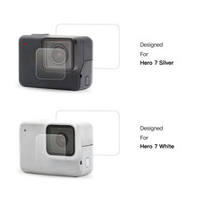 Untuk GoPro 7 Pahlawan Perak/Putih Versi Action Camera Tempered Glass Screen Cover Flim + Lensa Pelindung aksesoris Kamera(China)