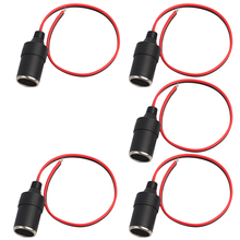 5Pack Car Cigarette Lighter Socket Fused 12v 24v Power Charger Adapter Female Connector Adapter, 1ft/30cm