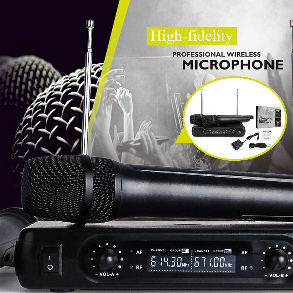 Wireless Microphone SystemHigh-fidelity  2 X Microphones Reproduce 100M True Voice Voice Compression Large Receiving Range