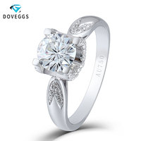 DovEggs 1 Carat 6.5MM F Color Lab Grown Moissanite 18K 750 White Gold Engagement Ring for Women Free Shipping