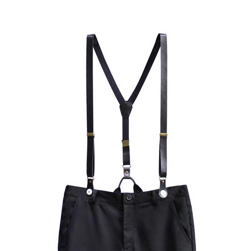 20mm Wide Women/Men Black Solid Genuine Leather Button Suspenders Cowboy Casual Wear Vintage Cowhide Split Unisex Button Braces