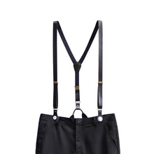 20mm Wide Women/Men Black Solid Genuine Leather Button Suspenders Cowboy Casual Wear Vintage Cowhide Split unisex Button braces unisex cowhide split autumn no fur