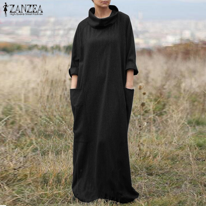 2018 ZANZEA Elegant Women Turtleneck Long Sleeve Solid Loose Dress Autumn  Casual Robe Vestido Femme Maxi 021caa140251
