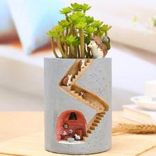 Mini Flowerpot Cute Resin Flowerpot Hedgehog House Succulent Plant Pot for Desktop Home Ornament Garden Bonsai Pots