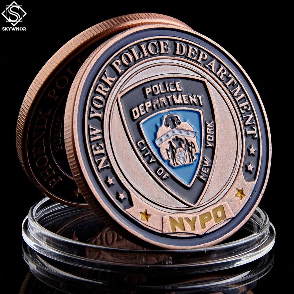 USA New York Department Police Coin Saint Michael Bronze Token Challenge Coin Collectibles