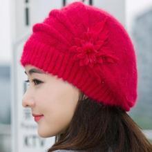 f3498f858e8 Wonderful Women Knitted Hats Fashion Lady Winter Warm Flower Knit Crochet Beanie  Hat Winter Warm Beret