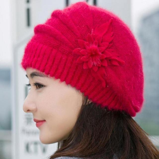 c4ec5230655 Wonderful Women Knitted Hats Fashion Lady Winter Warm Flower Knit Crochet  Beanie Hat Winter Warm Beret