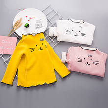 Children's clothing girls T-shirt long-sleeved cotton Autumn And Winter 2019 children's half-high collar wild warm shirt