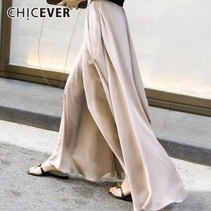 Image 1 - CHICEVER الخريف عالية مرونة الخصر بنطلون للنساء بنطال ذو قصة أرجل واسعة الشيفون فضفاض كبير الحجم واسعة الساق بانت للنساء موضة المد