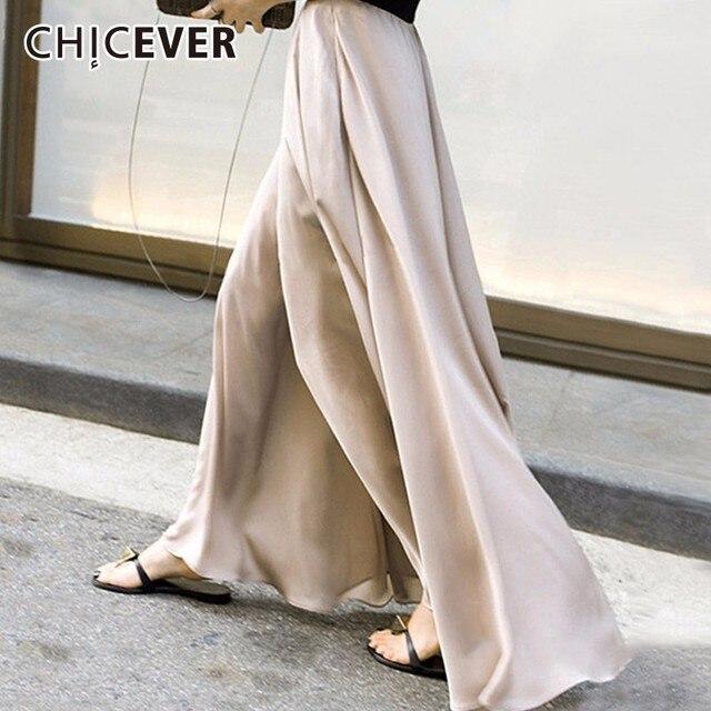 CHICEVER الخريف عالية مرونة الخصر بنطلون للنساء بنطال ذو قصة أرجل واسعة الشيفون فضفاض كبير الحجم واسعة الساق بانت للنساء موضة المد