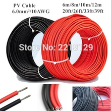 6m/8m/10m/12m 20ft/26ft/33ft/39ft 6.0mm/10AWG Black+Red Solar Connector Cable wire for solar panel module TUV Approval Power PV
