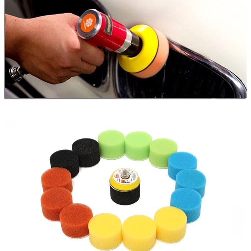 16 pçs/set almofada de polimento para polidor carro 2 Polegada 50mm círculo polimento polidor almofada ferramenta kit para carro polisher cera pulidora auto