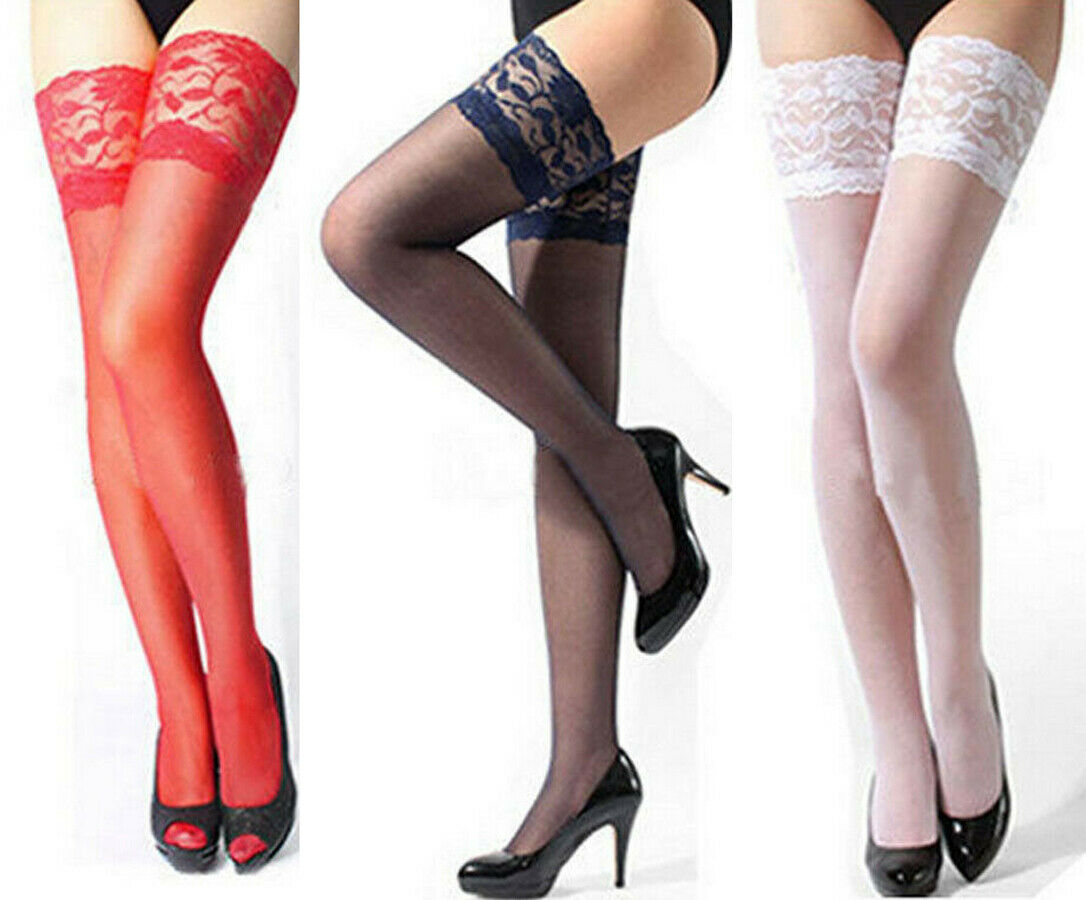 Hirigin Sexy Fashion Women Sheer Lace Top Stay Up Thigh High Hold-ups Stocking Pantyhose