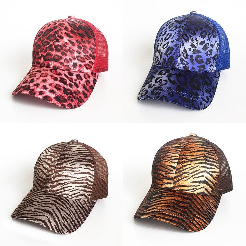 Leopard Printing Ponytail Baseball Cap Women Messy Bun Baseball Hat Snapback Summer Casual Girls Hip Hop Sport Hats